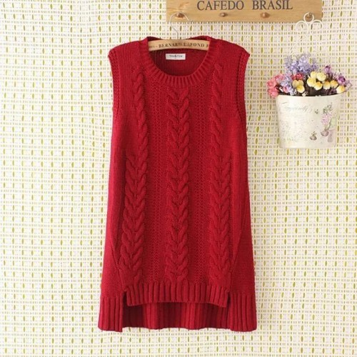 Plus size spring loose women vest sleeveless sweater new fashion knitted Pullovers red O neck