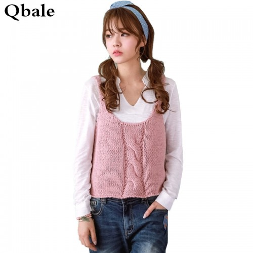 Qbale Vest Knitted Sweater Women Spring Autumn Preppy Style 90s Cropped Knitting Pullover Jumpers gilet