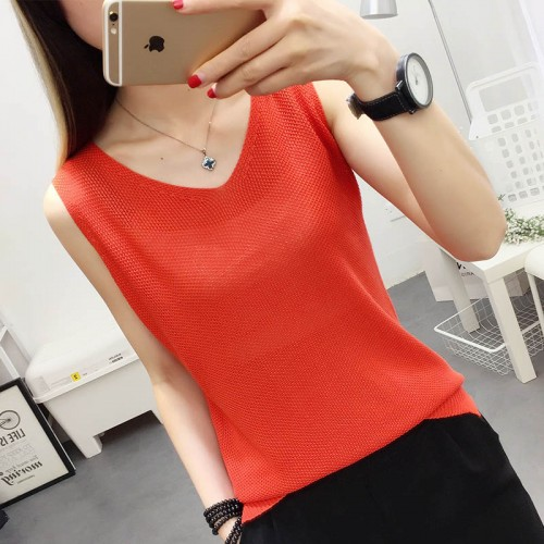 Small black and white Camisole short summer female wear loose knit shirt Korean all match sleeveless