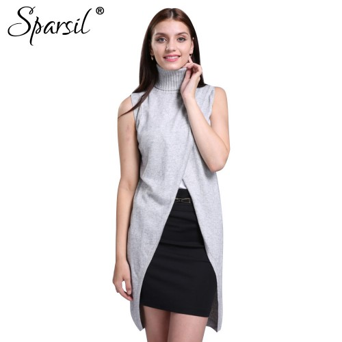 Sparsil Women s Turtleneck Cashmere Blend Sweater Sleeveless Vest Front Split Short Dress Fashion Pullovers Soft