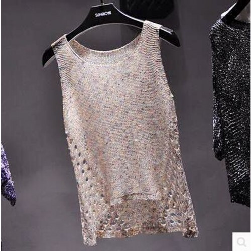 Summer bottoming sequined sleeveless vest straps perspective shiny piece big yards hollow sweater