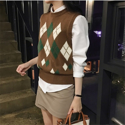 Sweater Women Autumn Winter Vintage Geometric Plaid Sleeveless Vest Knitted Pullover gilet femme manche