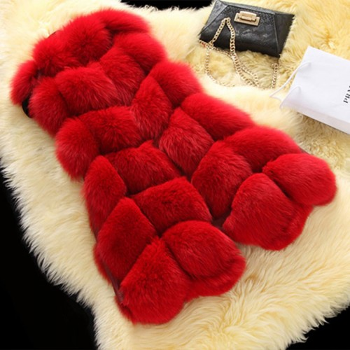 Women Fashion Winter Warm Outwear Slim Vest High Grade Faux Fox Fur Waistcoat Femme Jacket
