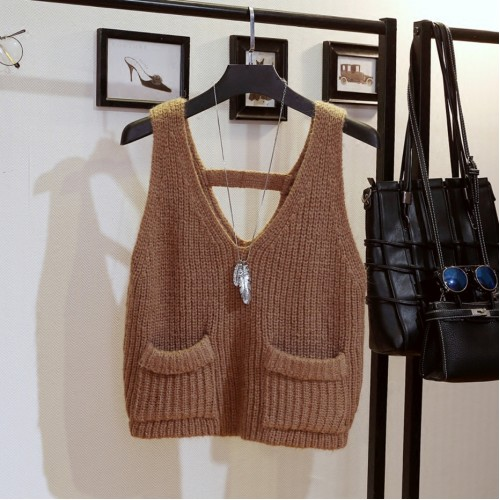 Women s Fashion Clothing Knit Vest V Neck Fashion Sweater Pullover Sleeveless Tops Outwear for Autumn