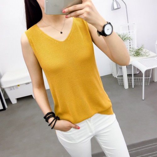 new vest summer V collar short ride all match loose wear bottoming needle sweater