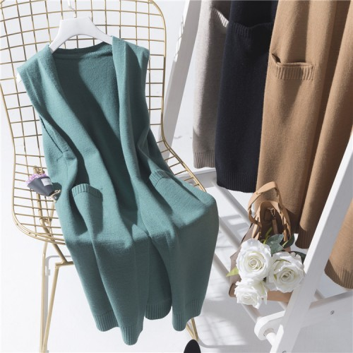 preppy style sweater vest medium long loose sleeveless outerwear female knitted waistcoat