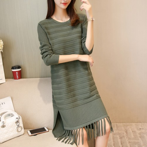 real shot new hem tassels knitted skirt