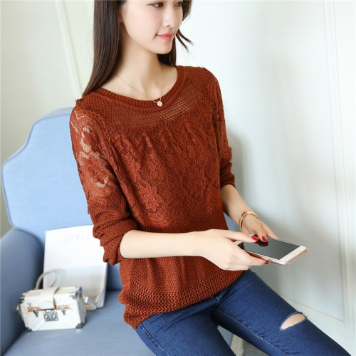 real shot new women s wear hollow lace knitted bottoming shirt sweater